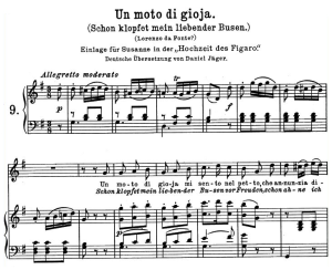 "un moto di gioia k.579, ""schon klopfet mein liebender busen"", high voice in g major, w.a. mozart., c.f. peters (friedlaender). a4"
