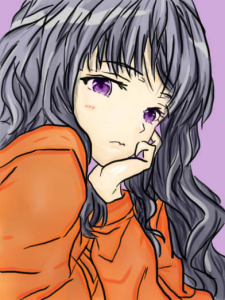 cartoon girl with violet hair and orange shirt