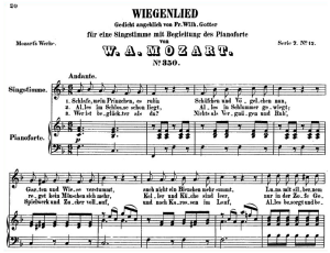 "wiegenlied k.350 ""schlafe mein prinzchen"", high or medium voice in f major. w.a.mozart lieder, high voice, ed. breitkopf.  a4"