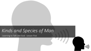 learning to talk like god: another species and kind of man