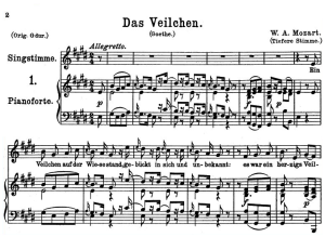 Das Veilchen K.476, Medium Voice in E Major, W.A. Mozart., C.F. Peters (Friedlaender). A4 | eBooks | Sheet Music
