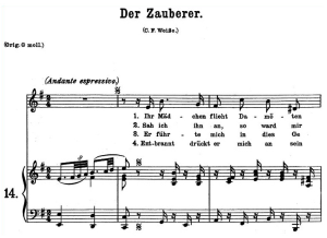 der zauberer k 472 medium or low  voice in e minor, w.a. mozart., c.f. peters (friedlaender). a4