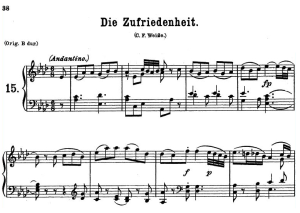die zufriedenheit k.473, medium voice in a-flat major, w.a. mozart., c.f. peters (friedlaender). a4
