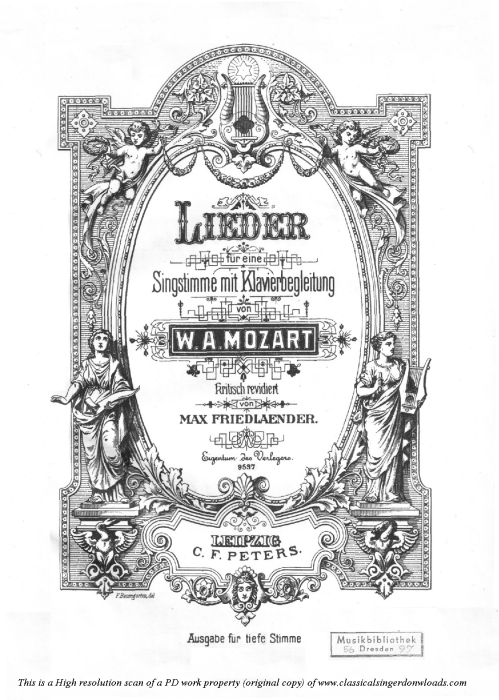 First Additional product image for - Komm, liebe Zither K.351, Medium or Low Voice Voice in A Major, W.A. Mozart., C.F. Peters (Friedlaender). A4