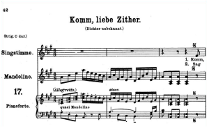 komm, liebe zither k.351, medium or low voice voice in a major, w.a. mozart., c.f. peters (friedlaender). a4