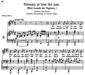 oiseaux, si tous les ans k.307, medium or low voice in a major, w.a. mozart., c.f. peters (friedlaender). a4