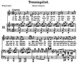 trennungslied k 519 (das lied der trennung), medium or low voice in d minor, w.a. mozart., c.f. peters (friedlaender). a4
