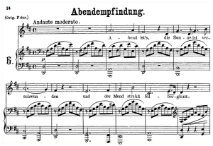 abendempfindung an laura k.523, low voice in d major, w.a. mozart., c.f. peters (friedlaender). a4