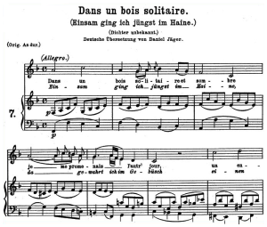 dans un bois solitaire k.308 295b, low voice in f major, w.a. mozart., c.f. peters (friedlaender). a4