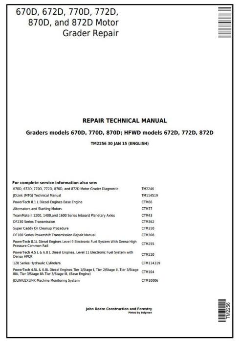 First Additional product image for - John Deere 670D, 672D, 770D, 772D, 870D, 872D Motor Grader Service Repair Technical Manual (TM2256)