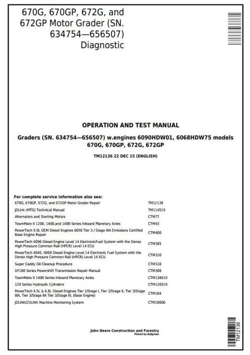 First Additional product image for - John Deere 670G,670GP,672G,672GP (SN.634754—656507) Motor Grader Diagnostic Service Manual (TM12136)