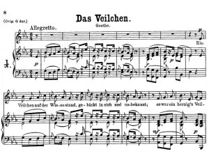 das veilchen k. 476 low voice in e-flat major, w.a. mozart., c.f. peters. a4
