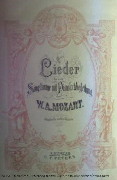 """First Additional product image for - Der Sylfe des Friedens K.152, Low Voice in D Major. German Version of """"Ridente la calma"""", W.A. Mozart., C.F. Peters (Friedlaender). A4"""