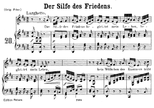 "der sylfe des friedens k.152, low voice in d major. german version of ""ridente la calma"", w.a. mozart., c.f. peters (friedlaender). a4"
