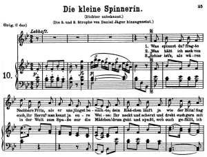 die kleine spinnerinn k.531, low voice in b-flat major, w.a. mozart., c.f. peters (friedlaender). a4