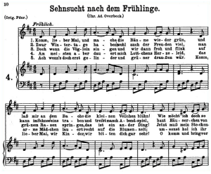 """sehnsucht nach dem frühlinge k.596, """"komm, lieber mai"""", low voice in d major, w.a. mozart., c.f. peters (friedlaender). a4"""
