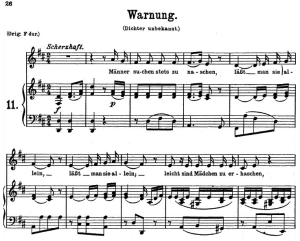 warnung k 433-416c, low voice in d major, w.a. mozart, c.f. peters (friedlaender). a4
