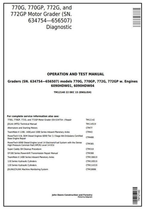 First Additional product image for - John Deere 770G,770GP, 772G,772GP (SN.634754—656507) Motor Grader Diagnostic Service Manual(TM12140)
