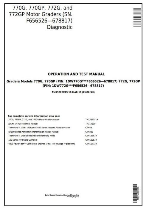 First Additional product image for - John Deere 770G, 770GP, 772G, 772GP(SN.F656526-678817) Grader Diagnostic Service Manual (TM13026X19)