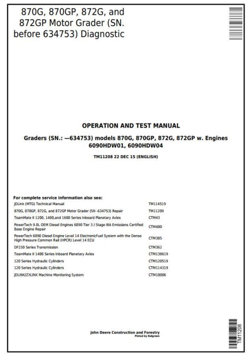 First Additional product image for - John Deere 870G, 870GP, 872G, 872GP (SN.-634753)Motor Grader Diagnostic&Test Service Manual(TM11208)