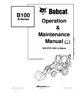Download Bobcat  B100 B Series Backhoe Loader Operation And Maintenance Service Manual   eBooks   Automotive