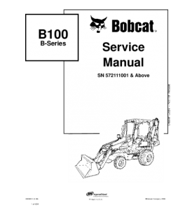 Download Bobcat  B100 B-Series Backhoe Loader Service Manual | eBooks | Automotive