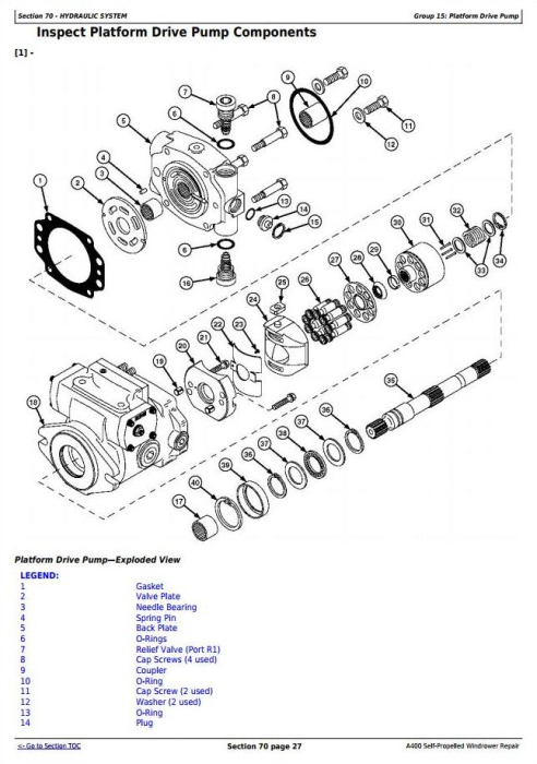 Third Additional product image for - John Deere A400 Self-Propelled Hay and Forage Windrowers Service Repair Technical Manual (TM106419)