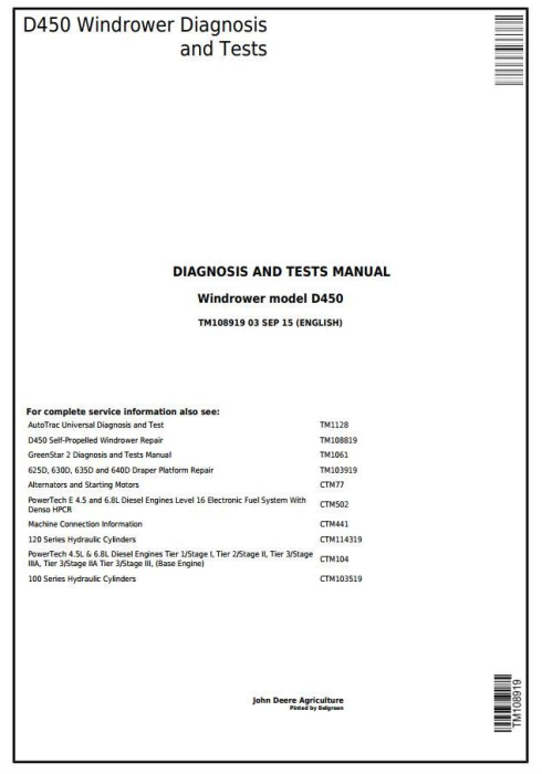First Additional product image for - John Deere D450 Self-Propelled Hay and Forage Windrower Diagnostic & Tests Service Manual (TM108919)
