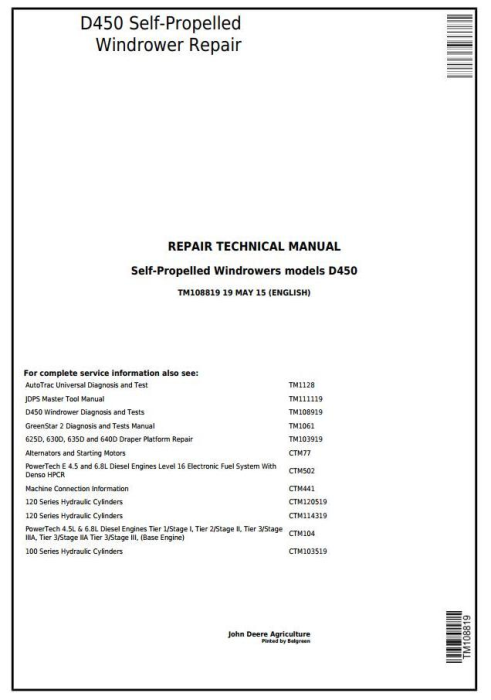 First Additional product image for - John Deere D450 Self-Propelled Hay and Forage Windrowers Service Repair Technical Manual (TM108819)