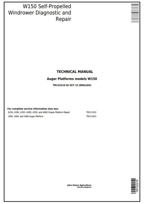 First Additional product image for - John Deere W150 Self-Propelled Hay&Forage Windrower Diagnostic & Repair Technical Manual (TM122219)