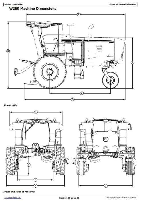 First Additional product image for - John Deere W235, W260 Rotary Self-Propelled Hay&Forage Windrower Service Repair Manual (TM129519)