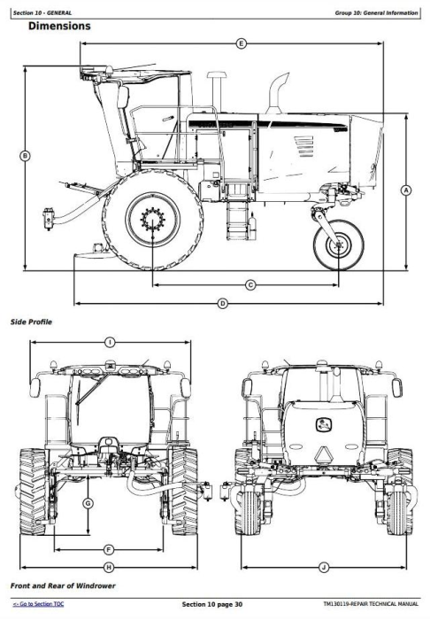 First Additional product image for - John Deere W235 Self-Propelled Draper Hay&Forage Windrower Service Repair Technical Manual(TM130119)
