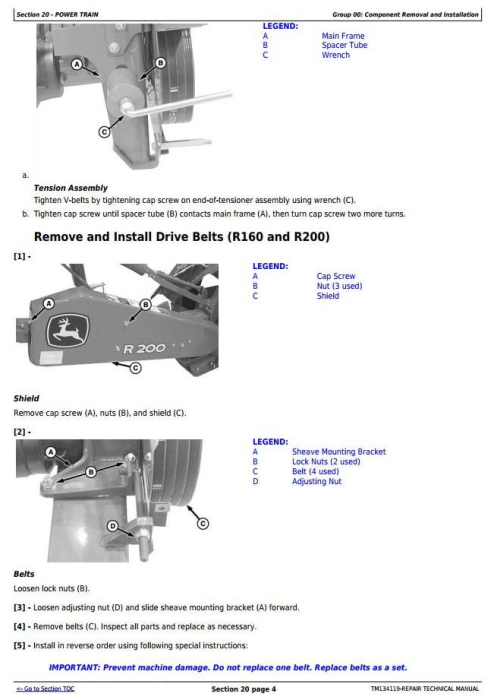 Second Additional product image for - John Deere R160,R200,R240,R280,R310 Hay&Forage Rotary Disk Mower Technnical Service Manual(TM134119)