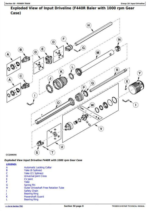 Second Additional product image for - John Deere F440M, F440R Hay and Forage Round Baler Service Repair Technical Manual (TM300919)