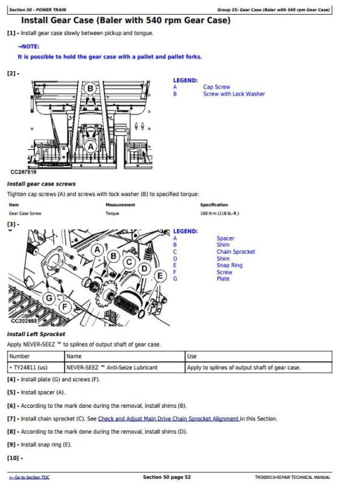 Third Additional product image for - John Deere F440M, F440R Hay and Forage Round Baler Service Repair Technical Manual (TM300919)