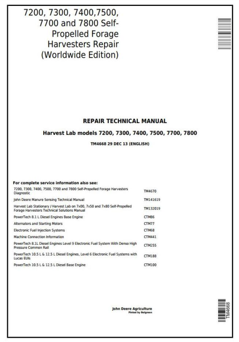 First Additional product image for - John Deere 7200, 7300, 7400, 7500, 7700, 7800 Self-Propelled Forage Harvester Repair Manual (TM4668)