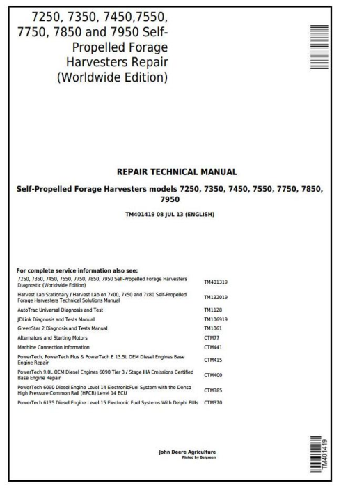 First Additional product image for - John Deere 7250, 7350,7450, 7550, 7750,7850, 7950 Forage Harvesters Service Repair Manual (TM401419)