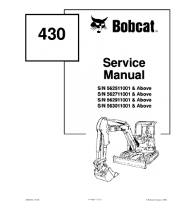Download Bobcat 430 Compact Excavator Service Manual | eBooks | Automotive