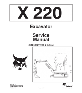 Download Bobcat Repair  X220 Excavator Service Manual | eBooks | Automotive