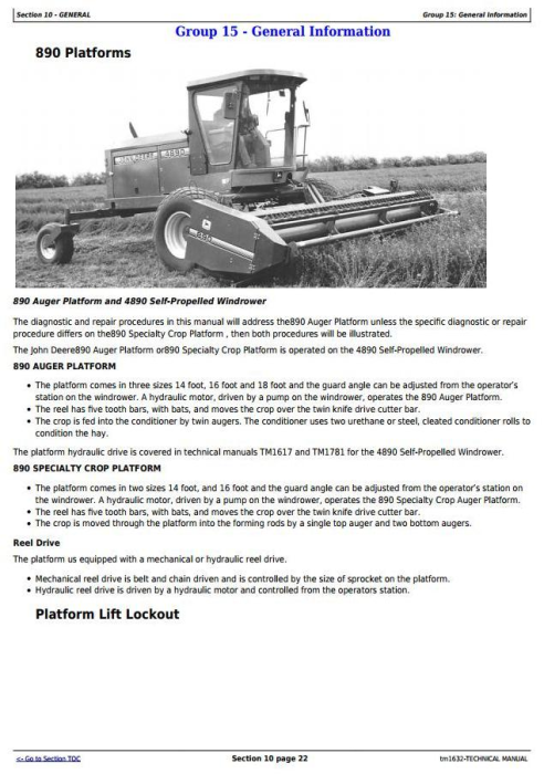 Second Additional product image for - John Deere 890 Auger & Specialty Crop Platforms Service Repair Technical Manual (tm1632)