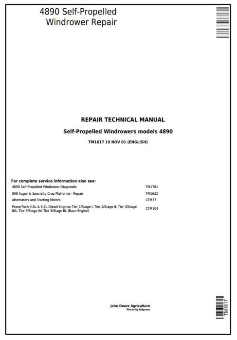 First Additional product image for - John Deere 4890 Self-Propelled Hay and Forage Windrower Service Repair Technical Manual (tm1617)