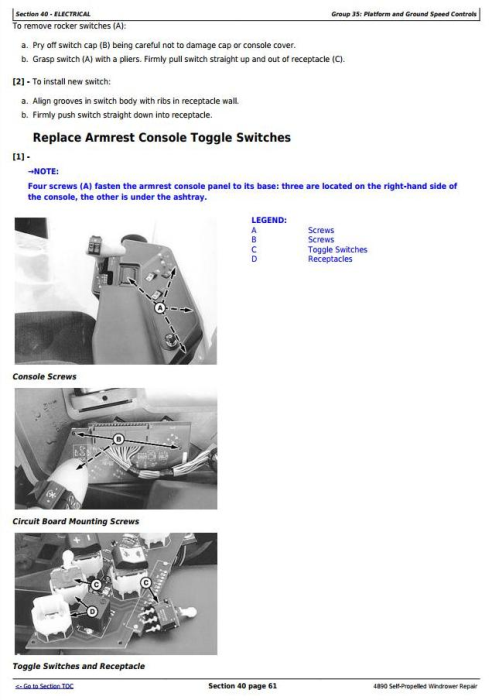 Third Additional product image for - John Deere 4890 Self-Propelled Hay and Forage Windrower Service Repair Technical Manual (tm1617)
