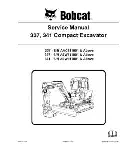 Download Bobcat 337 341 Compact Excavator Service Manual | eBooks | Automotive