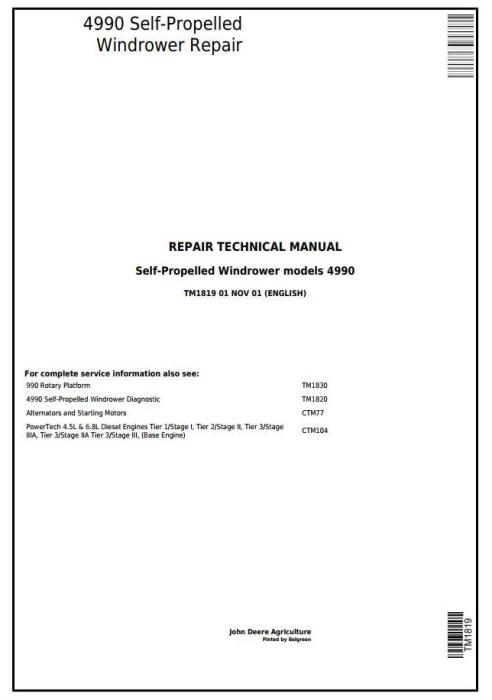 First Additional product image for - John Deere 4990 Self-Propelled Hay and Forage Windrower Service Repair Technical Manual (tm1819)