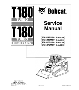 Download Bobcat T180 Turbo T180 Turbo High Flow Compact Track Loader Service Repair Manaul | eBooks | Automotive