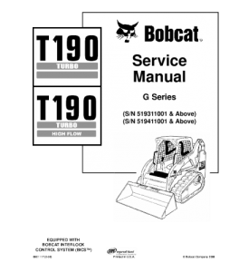 download bobcat t190 turbo t190 turbo high flow compact track loader service repair manual