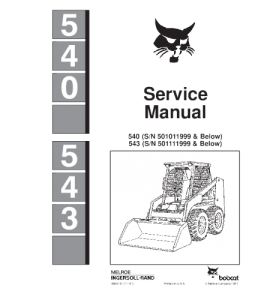 Download Bobcat 540 543 Skid Steer Loader Service Repair Manual | eBooks | Automotive