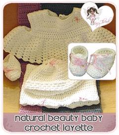 natural beauty baby layette crochet pattern set