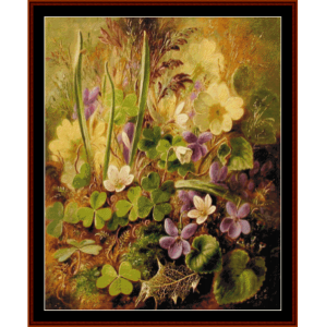 violets and clover - durer cross stitch pattern by cross stitch collectibles