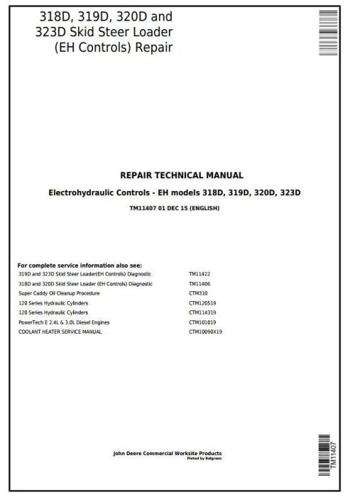 First Additional product image for - John Deere 318D, 319D, 320D, 323D Skid Steer Loader (EH Controls) Service Repair Manual (TM11407)
